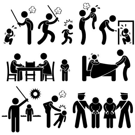 hitting: Famiglia Abuso Bambini Colpire Confine Molestie sessuali Stick Figure Pittogramma Icona