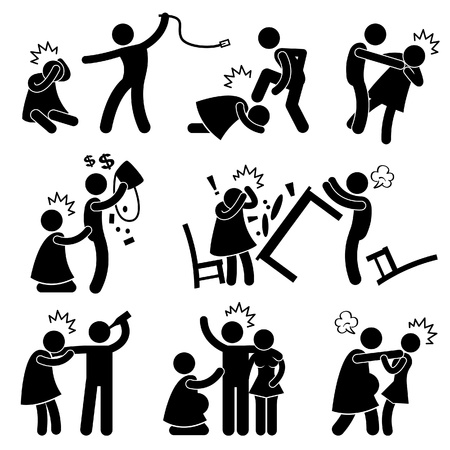 Abusive Husband Helpless Wife Stick Figure Pictogram Icon Vector