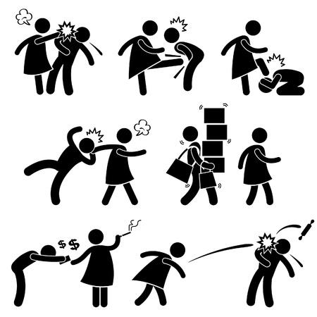 Beledigende vrouw Vriendin Zwakke Echtgenoot Boyfriend Stick Figure Pictogram Pictogram Vector Illustratie