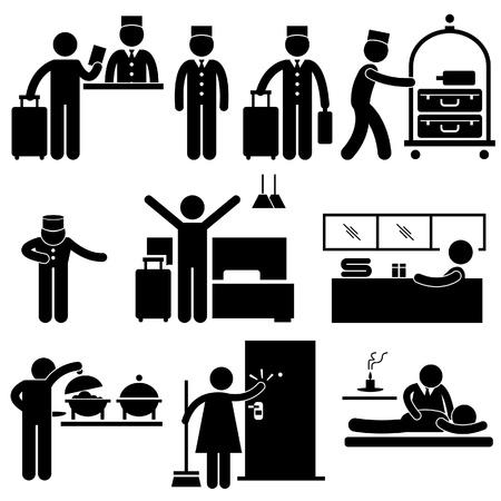 Travailleurs de l'hôtellerie et pictogrammes services Vecteurs