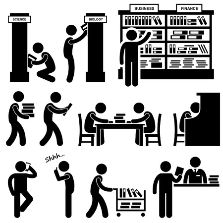 Library Librarian Bookstore Student Pictograms Illustration