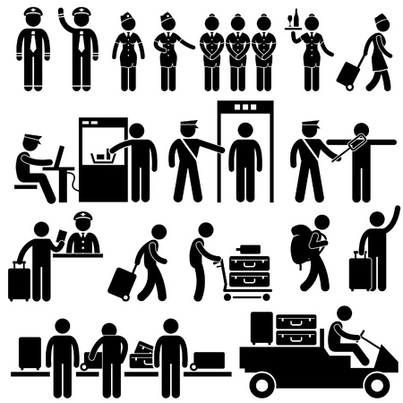 Airport Workers and Security Pictograms Vector