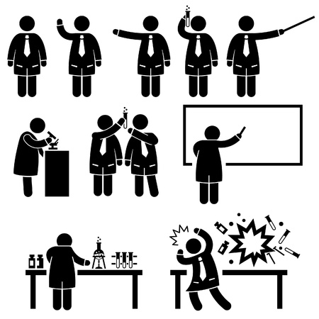 Scientist Professor Science Lab Pictograms Vector