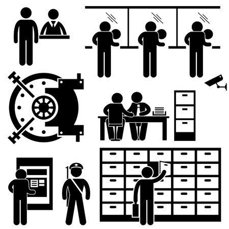 teller: Bank Business Finance Worker Staff Agent Consultant Customer Security Stick Figure Pictogram Icon Illustration