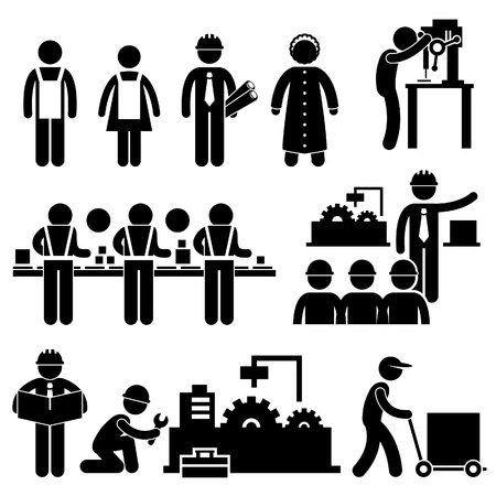silhouette industrial factory: Factory Worker Engineer Manager Supervisor Working Stick Figure Pictogram Icon Illustration