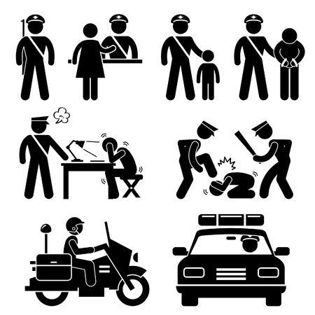 Polizeiwache Polizist Motorrad Auto Bericht Interrogation Stick Figure Piktogramm Icon Vektorgrafik
