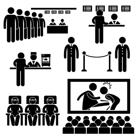 Cinema Theater Movie Moviegoers Film People Man Stick Figure Pictogram Icon Vector