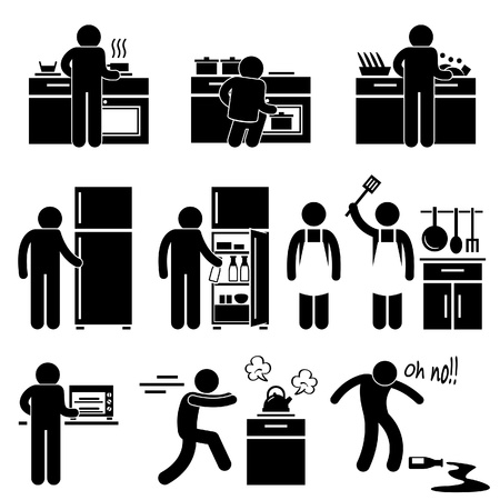 aprons: Man Cooking Kitchen Using Washing Equipment Stick Figure Pictogram Icon
