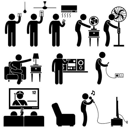 tv stand: Man Using Home Appliances Entertainment Leisure Electronics Equipments Stick Figure Pictogram Icon Illustration