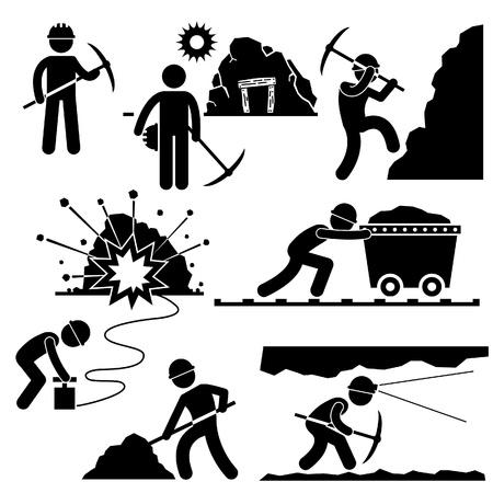kopalni: Pracownik Miner Mining Labor Stick Figure Icon Piktogram