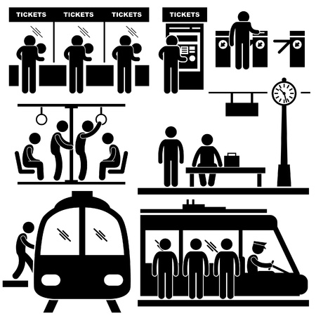 transit: Train Commuter Station Subway Man People Passengers Stick Figure Pictogram Icon Illustration