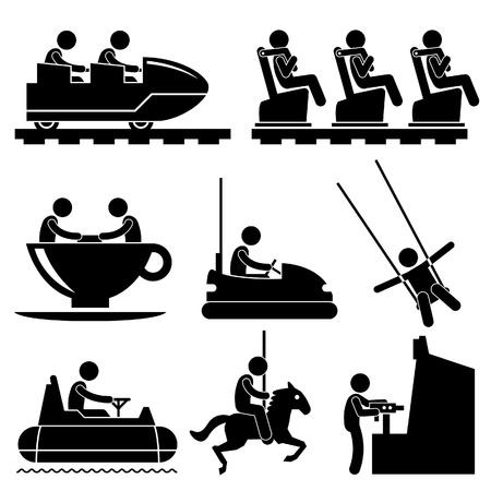 Parque de diversiones Parque Temático personas que juegan Stick Figure Icono Pictograma Ilustración de vector