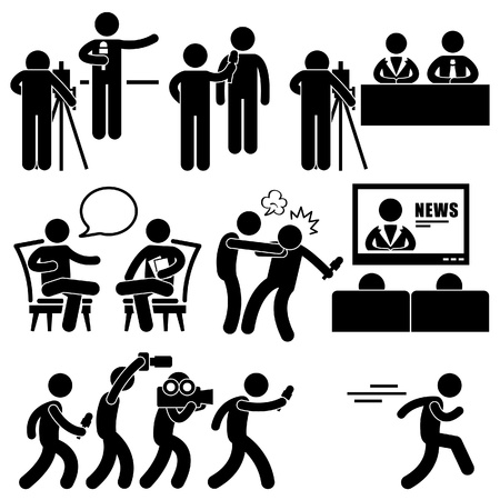 personas viendo tv: Reportero de Noticias News Anchor Woman Man Talk Show Host Stick Figure Icono Pictograma