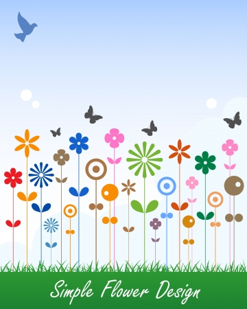 Simple Flower Card Message Label Vector