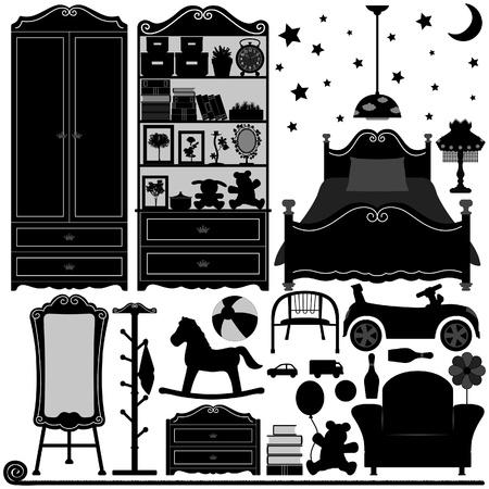 재료: 아이들 침실 인테리어 디자인 홈 룸 일러스트