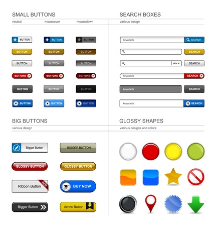 Web Design Button Element Vector