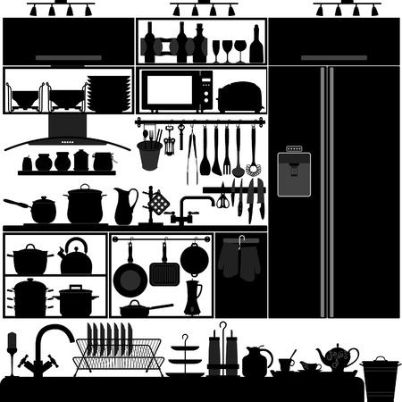 lavabo: Utensilios de cocina herramienta de Interior Vectores