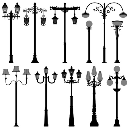 victorian: lamp Post Lamppost Street PoleLight Illustration