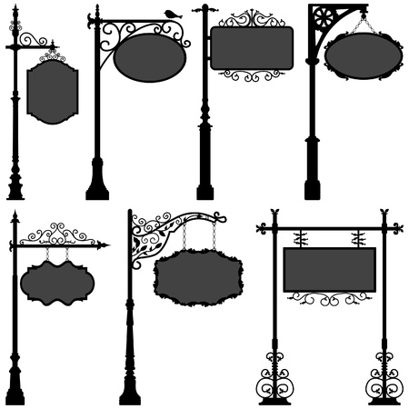 Signage Sign Pole Frame Street Vector