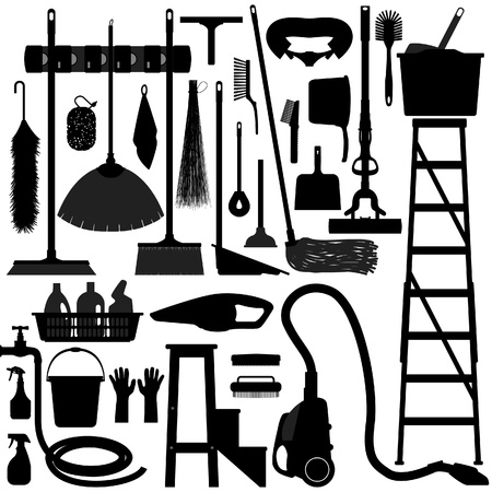 mops: Cleaning Washing Domestic Household Housework Work Tool Equipment Illustration