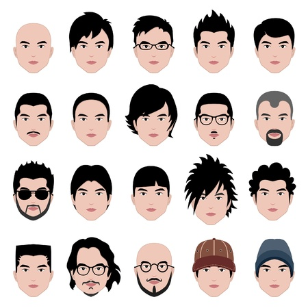 spikes: Hombre Hombres Mujer Cabeza humana Cara Cabello Peinado Moda People bigote calvo Vectores