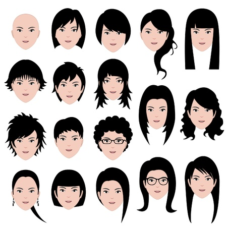 woman female Human Face Head Hair Hairstyle Bald People Fashion Stock Vector - 18809676