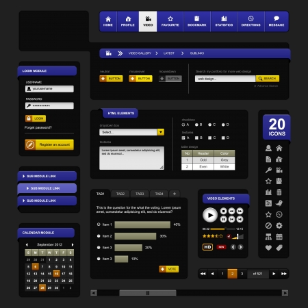 menu buttons: Web Design Element Dark Black Illustration