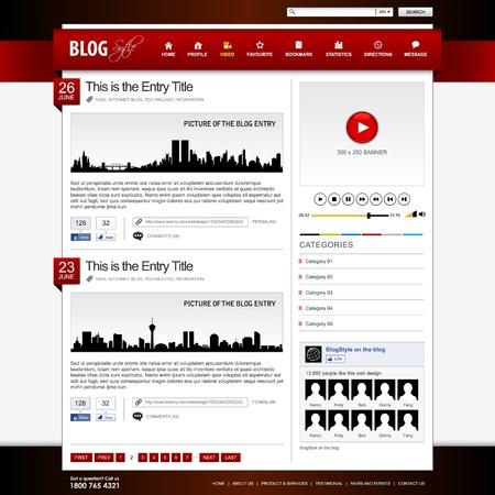 web side: Web Design Element Template Red Website