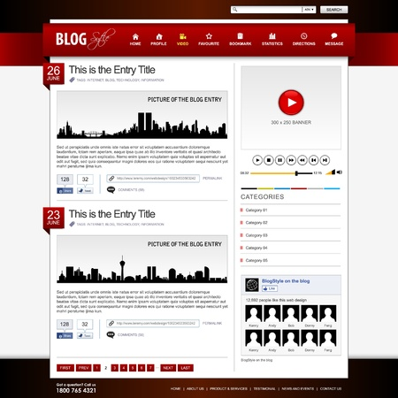 website header: Web Design Website Element Red Template