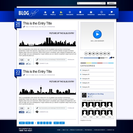Web Design Website Element Blue Template Vector