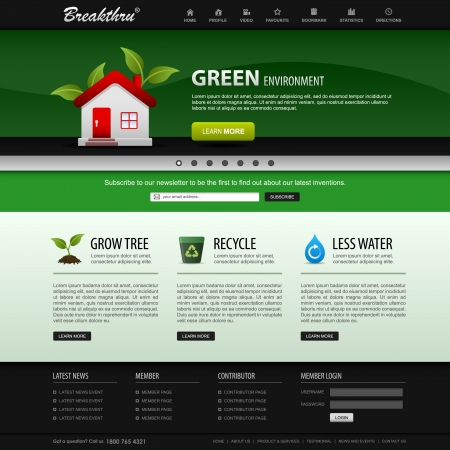 web site design template: Web Design Website Elements Green Template Illustration