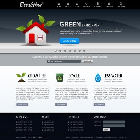 web commerce: Web Design Elements Modello di sito Web verde