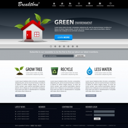design web: Web Design Website Elements Green Template Illustration