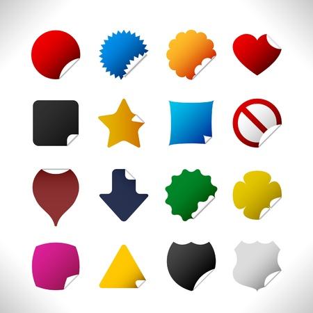 colorful sticker: peel sticker corner label tag badge Illustration