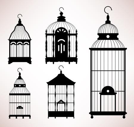 Bird Cage birdcage vintage retro silhouette Stock Vector - 18809565