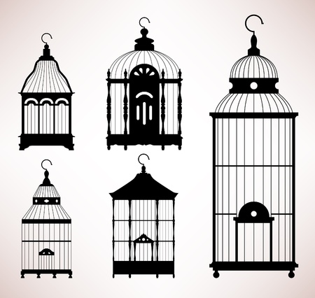 cage birds: Bird Cage birdcage vintage retro silhouette