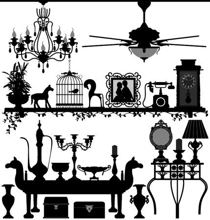 muebles antiguos: Antique Furniture Home Decoration Interior Design Ancient Retro Antiguo Vectores