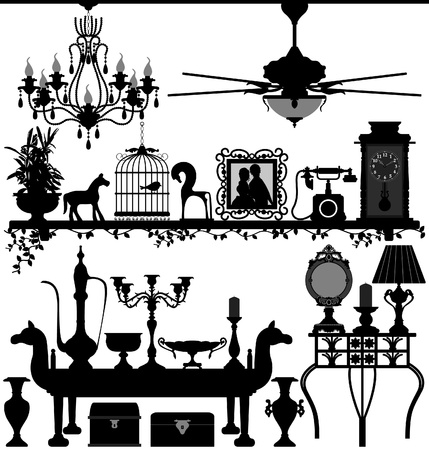 Antique Home Decoration Furniture Interior Design Ancient Old Retro Vector