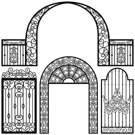 puertas de hierro: Puerta de entrada Puerta Fence Vintage Retro Ancient Garden Vectores