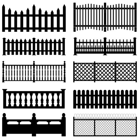 Fence Picket Wooden Wired Brick Garden Park Yard Illustration