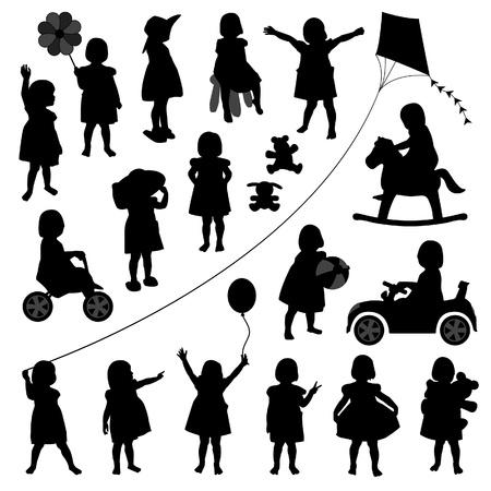niño niño niños bebé niño niña jugando silueta actividad feliz Ilustración de vector