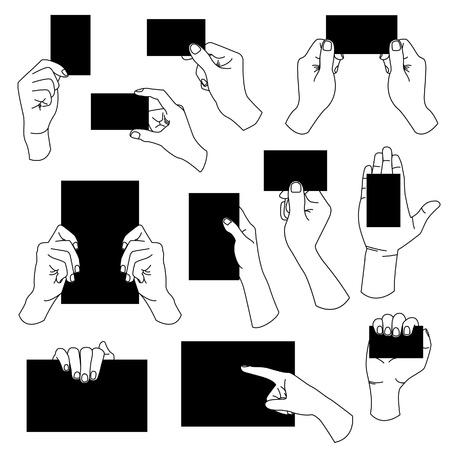 manos sosteniendo: mano que sostiene la tarjeta de visita de papel vacía signo folleto