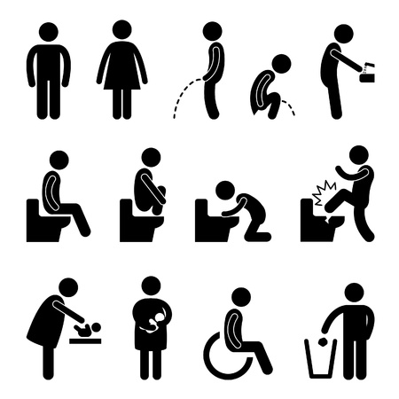 crouching: Toilet Bathroom Male Female Pregnant Handicap Public Sign Symbol Icon Pictogram