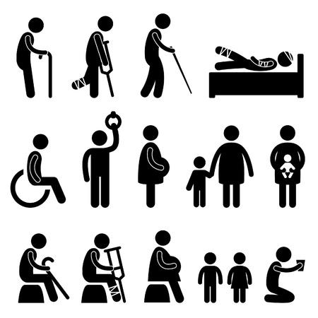 simbolo uomo donna: vecchio paziente cieco disabilitare handicap donna incinta bambino dei bambini poveri begger bisogno priorità icona simbolo segno pittogramma Vettoriali