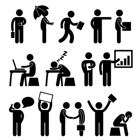 asleep: Business Finance Office Workplace People Man Working Icon Symbol Sign
