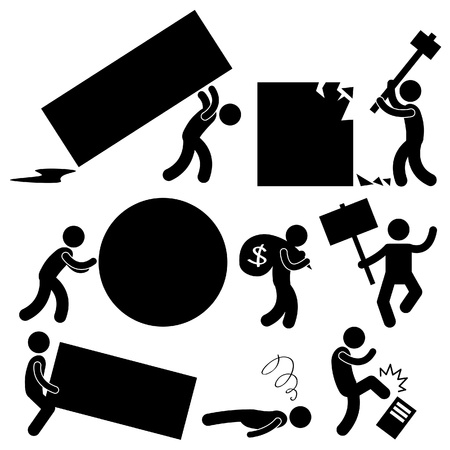 obstaculo: La gente de negocios Trabajo Burden Tough Anger Difícil Workplace Hurdle Obstáculo Obstáculo frustración Concepto Icono símbolo Vectores