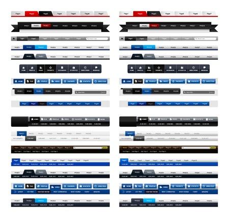 Web Design Menu navigatiebalk Website Header Element glanzend en mat