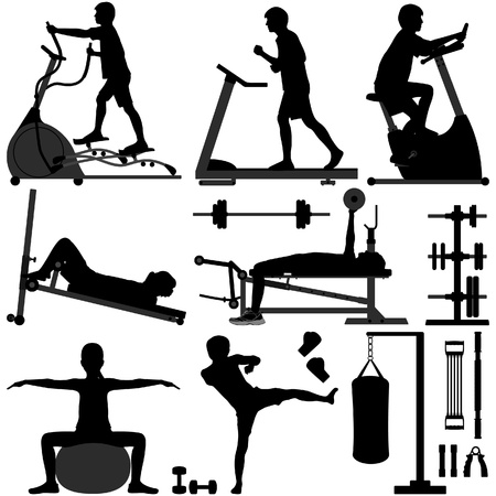 Gym Gymnasium People Sport Exercise Workout Equipment Tool Fitness Man Training Stock Vector - 18811984
