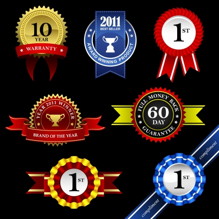 trofeo: Seal Ribbon Rosette vintage Badge Trophy Medal Winner Tag Emblem Label Banner Garant�a Garant�a Premio de Oro Vectores