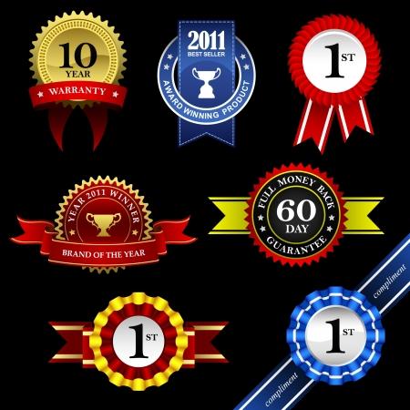 gagnants: Seal ruban Rosette Badge Vintage Troph�e Gagnant de la m�daille Tag embl�me �tiquette banni�re de garantie Garantie Gold Award Illustration